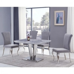 Riccardo Small Grey Marble Dining Table With 4 Liyana Grey Chairs