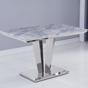 Riccardo Small Grey Marble Dining Table With Chrome Metal Legs