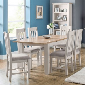 Richmond Extending Dining Table In Elephant Grey With 6 Chairs