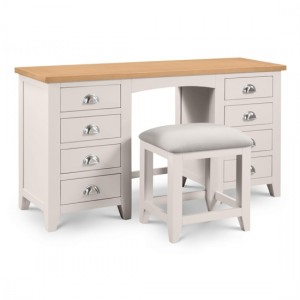 Richmond Twin Pedestal Dressing Table And Stool In Oak And Grey