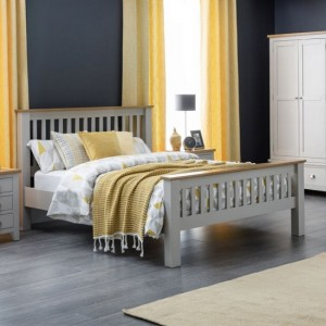 Richmond Wooden King Size Bed In Oak And Grey