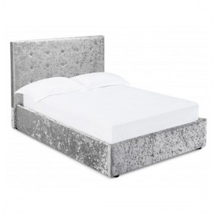 Rimini Crushed Velvet Upholstered Storage Double Bed In Silver