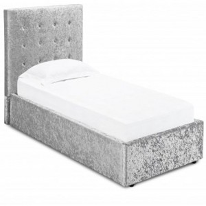 Rimini Crushed Velvet Upholstered Storage Single Bed In Silver