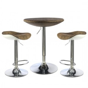 Ripley Textilene Bar Table In Brown With 2 Stools