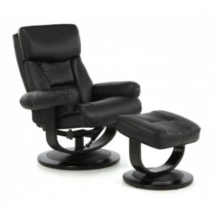 Risor Leather Swivel Recliner Chair In Black