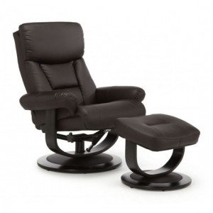 Risor Leather Swivel Recliner Chair In Brown