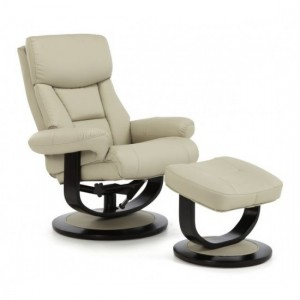 Risor Leather Swivel Recliner Chair In Taupe