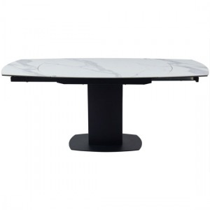 Ritz Extending Swivel Ceramic Marble Dining Table In White And Grey