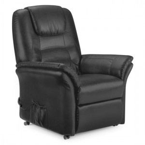 Riva Faux Leather Rise And Recliner Chair In Black