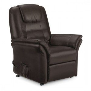 Riva Faux Leather Rise And Recliner Chair In Brown