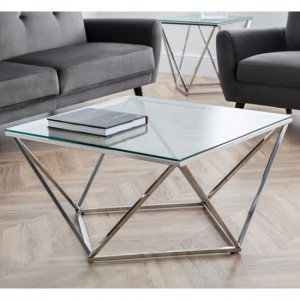 Riviera Clear Glass Octagonal Coffee Table With Chrome Frame