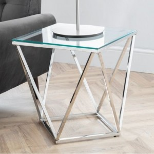 Riviera Clear Glass Octagonal Lamp Table With Chrome Frame