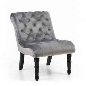 Riviera Brushed Velvet Accent Chair In Grey