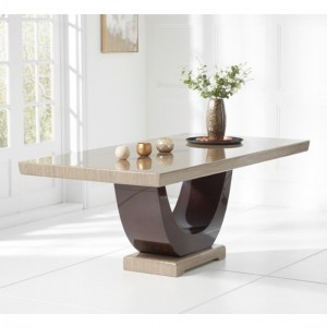 Rivilino 200cm Marble Rectangular Dining Table In Brown