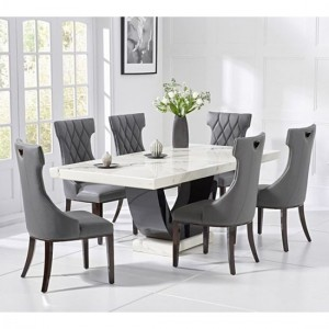 Rivilino 200cm White Marble Rectangular Dining Table With 6 Fredo Grey Chairs