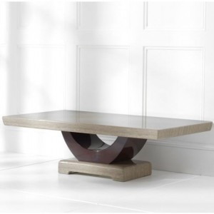 Rivilino Marble Coffee Table In Brown And Black High Gloss