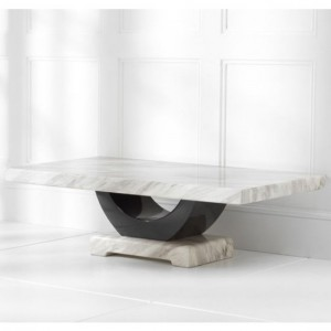 Rivilino Marble Coffee Table In Cream And Black High Gloss