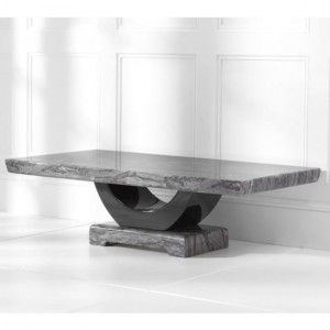 Rivilino Marble Coffee Table In Dark Grey And Black High Gloss