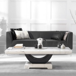 Rivilino Marble Coffee Table In White And Black High Gloss