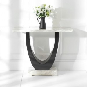 Rivilino Marble Console Table In Cream And Black High Gloss