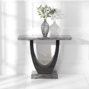 Rivilino Marble Console Table In Dark Grey And Black High Gloss