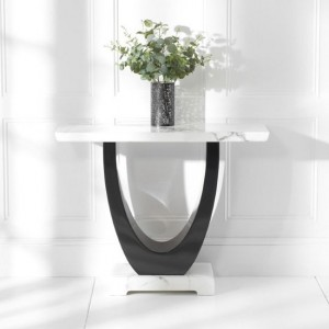 Rivilino Marble Console Table In White And Black High Gloss