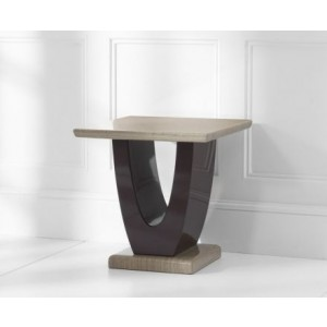 Memphis Marble Lamp Table Square In Light And Dark Brown