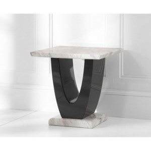 Memphis Marble Lamp Table Square In Cream And Black