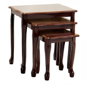 Robin Wooden Gloss Nest Of Tables In Mahogany