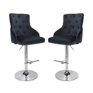 Rocco Black Brushed Velvet Bar Stool In Pair