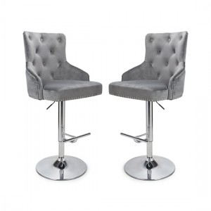 Rocco Grey Brushed Velvet Bar Stool In Pair