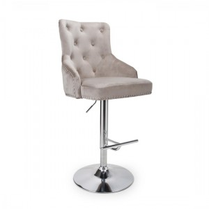 Rocco Brushed Velvet Bar Stool In Mink