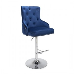 Rocco Brushed Velvet Bar Stool In Ocean Blue