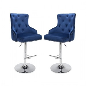 Rocco Ocean Blue Brushed Velvet Bar Stool In Pair