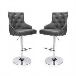 Rocco Graphite Grey Leather Effect Bar Stool In Pair