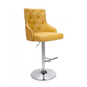Rocco Leather Effect Bar Stool In Yellow