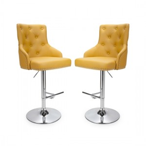 Rocco Yellow Leather Effect Bar Stool In Pair