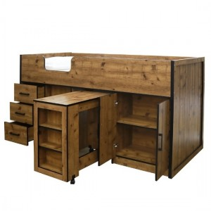 Rocco Midsleeper With Pullout Storage Bed In Vintage Oak