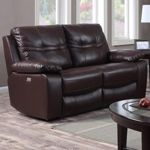 Rockport Leather And PU Power Recliner 2 Seater Sofa In Chocolate