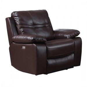 Rockport Power Recliner Leather And PU 1 Seater Sofa In Chocolate