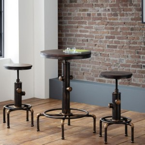 Rockport Wooden Bar Set In Rustic Elm With 2 Bar Stools