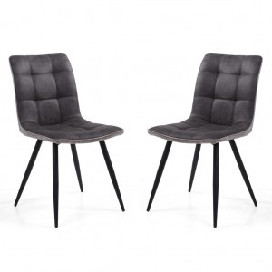 Rodeo Suede Effect Dark Grey Fabric Dining Chair In Pair