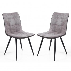 Rodeo Suede Effect Light Grey Fabric Dining Chair In Pair
