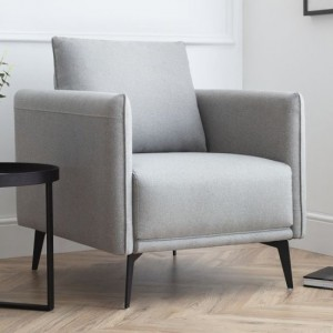 Rohe Platinum Wool Effect Armchair In Grey