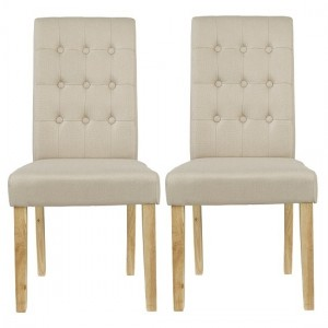 Roma Beige Linen Fabric Dining Chairs In Pair
