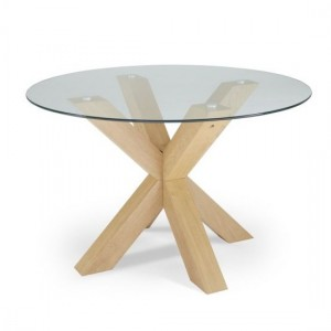 Romford Round Clear Glass Dining Table With Oak Veneer Legs
