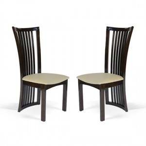 Ronda Mahogany High Gloss Wooden Dining Chairs In Pair