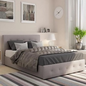 Rose Linen Fabric Upholstered Storage Double Bed In Light Grey