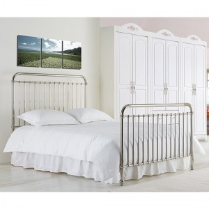 Rose Metal Double Bed In Chrome