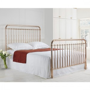 Rose Metal King Size Bed In Rose Gold